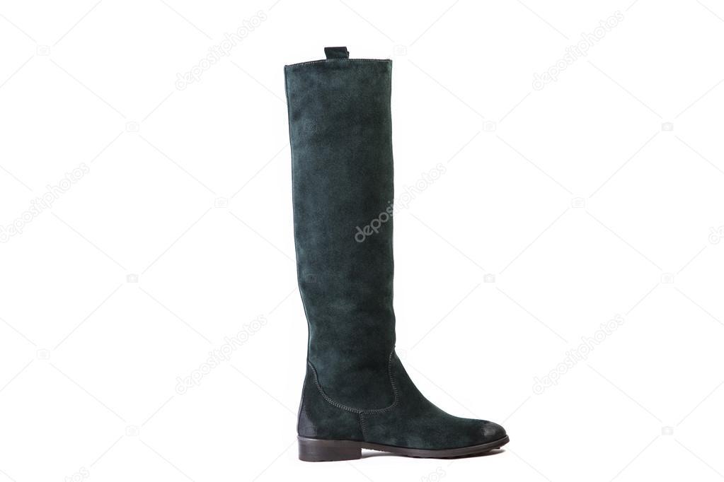Grüne Damen-Stiefel auf weißem Hintergrund, Wildleder Schuhe online-Shop —  Foto von SergANTstar 49f7288817