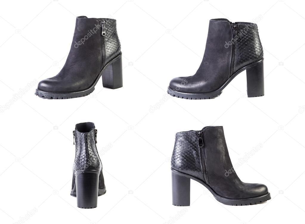 Botas Blanco Un Fondo Mujer Zapatos Collage Sobre De wvBqTR