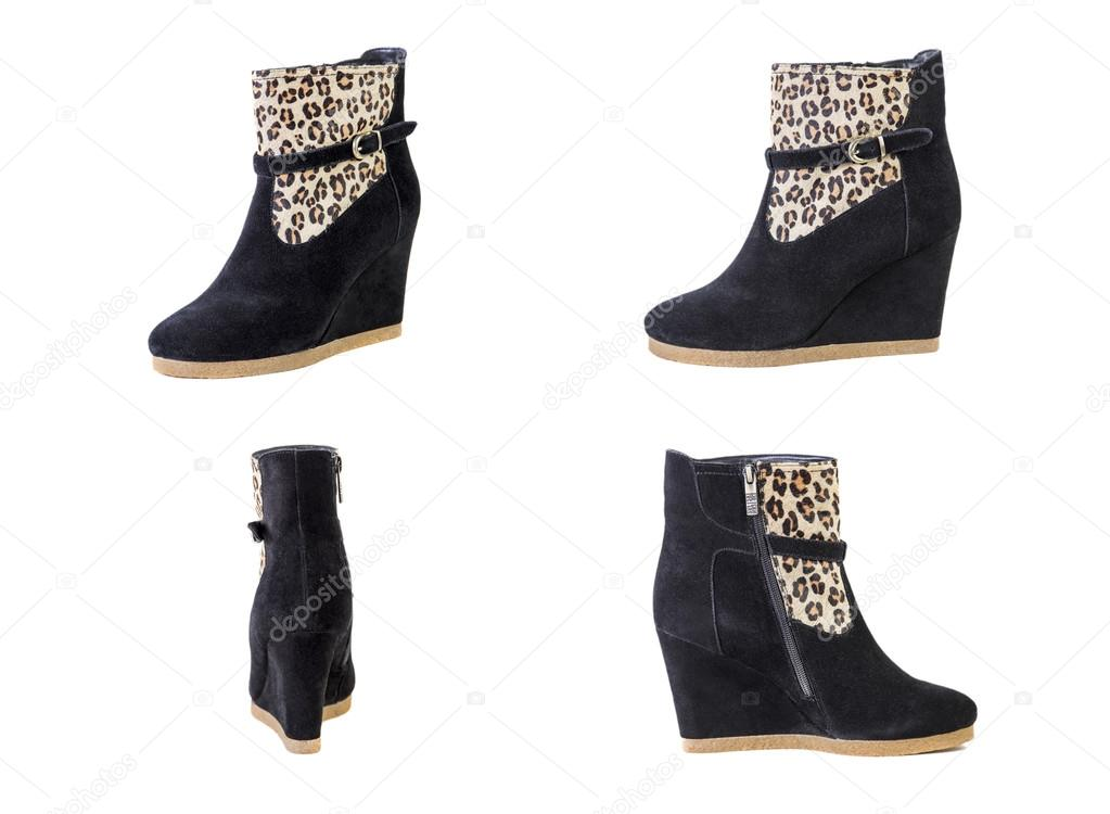 Femmes Collage Chaussures Bottes Léopard De 6wCAYYnqH