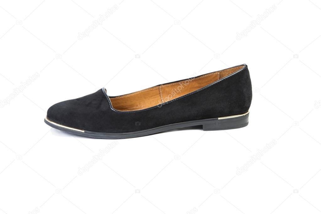 more photos e3b2a 1a1bd Schwarze Schuhe auf einem weißen Hintergrund, Damen elegante ...