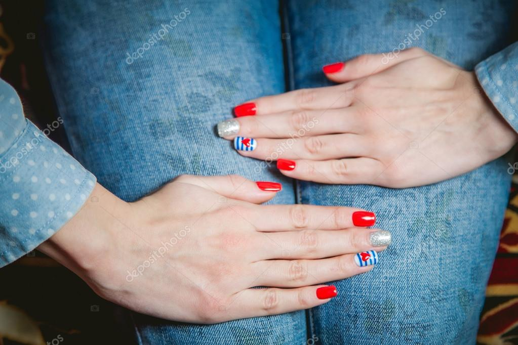 girl shows stylish manicure