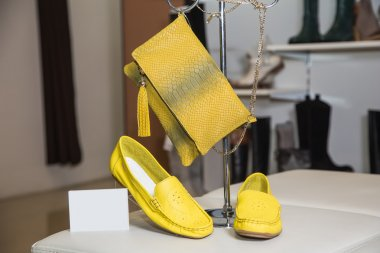 Yellow bag and women's moccasins, a new collection