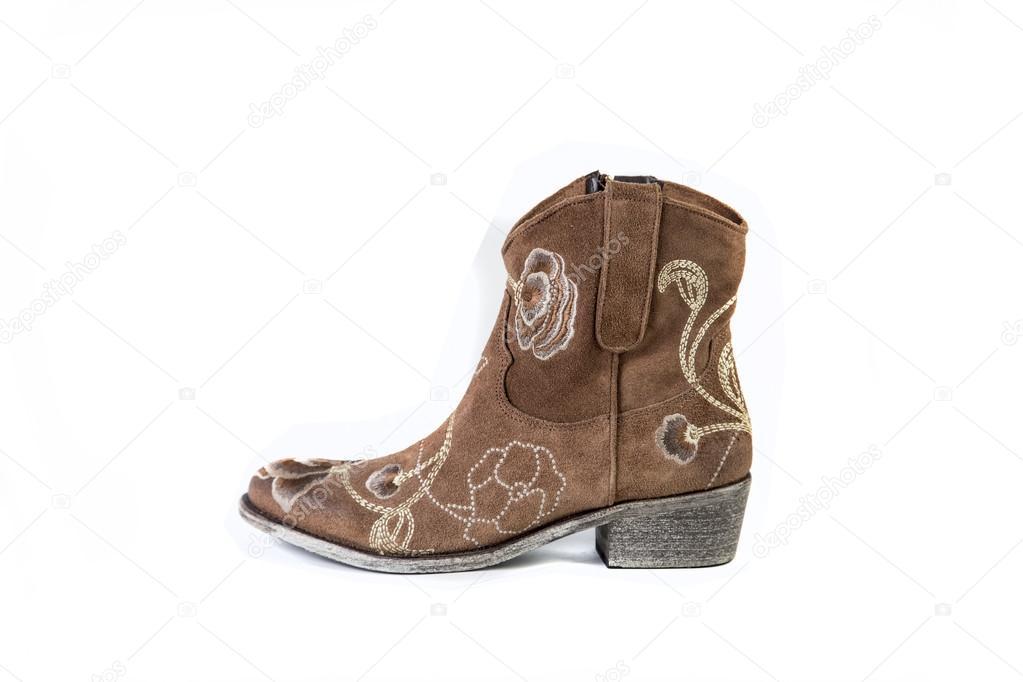 Zapatos Color Botas Sobre De Mujer Marrón Blanco Un Fondo Yxc8YrEqvw