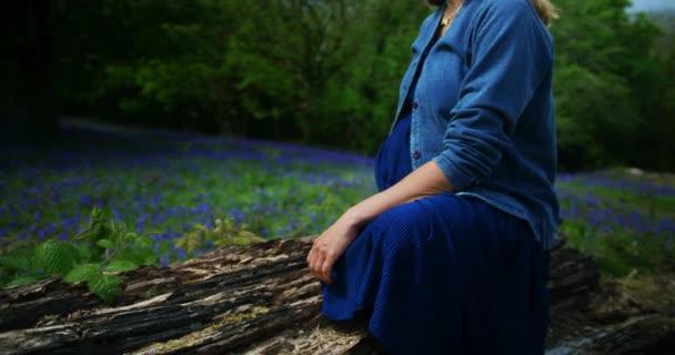 Mladá žena sedí na suchém stromě v zeleném poli s fialovými květy, maminka a syn v zahradě