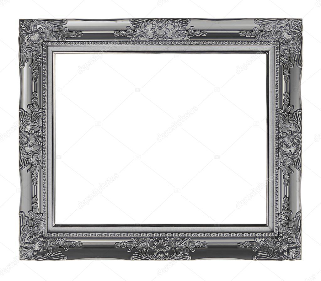 antikes grauen Rahmen isoliert auf weißem Hintergrund, Schneidepfad ...