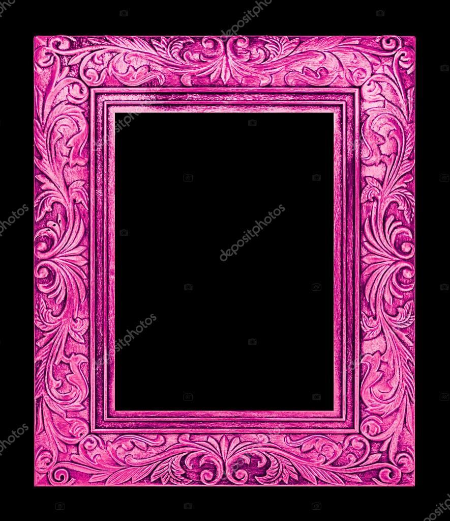antikes Rosa Rahmen auf schwarzem Hintergrund, Schneidepfad isoliert ...