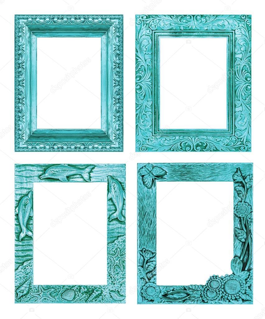 Juego de 4 antiguos azul marco aislado sobre fondo blanco, c — Foto ...