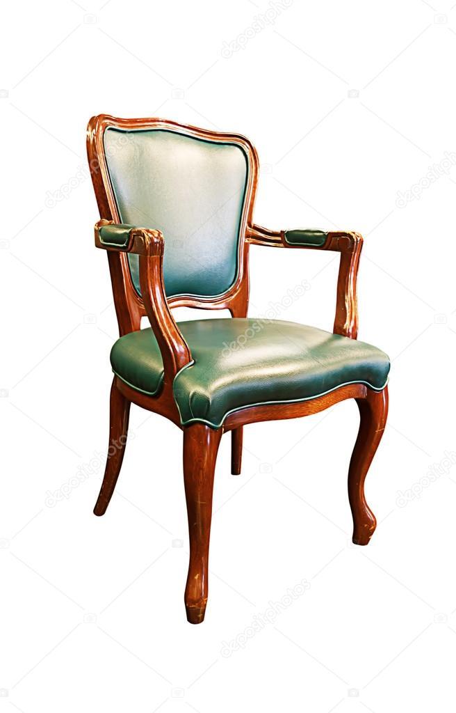 vieux fauteuil en cuir vert isolé sur blanc — graphie