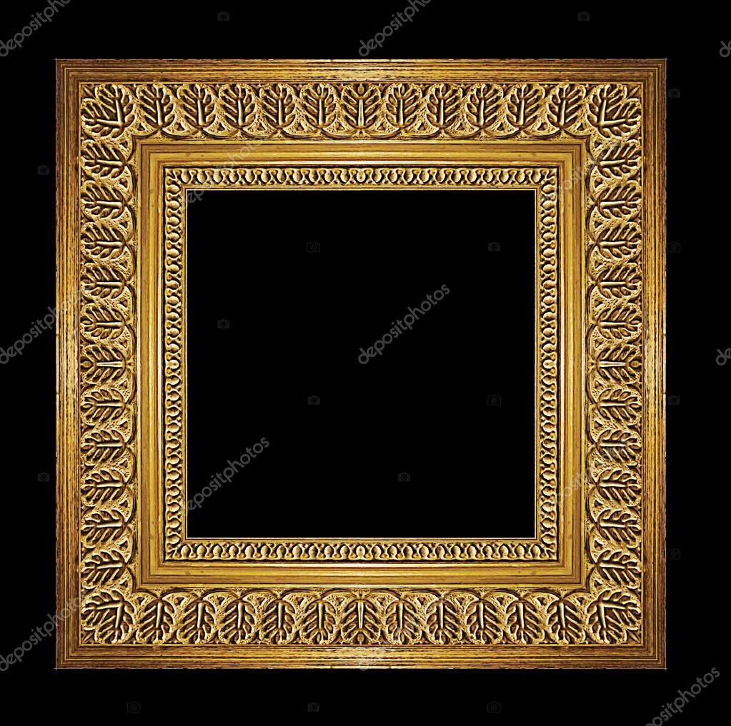 a6ac4bb6f107 golden frame isolated on black background