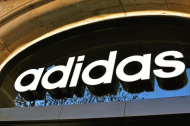 Adidas logo in the flagship store
