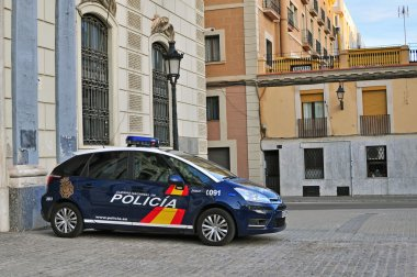 Police car in the street of Barcelona, Spain