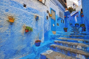 Traditional blue patio in Chefchaouen