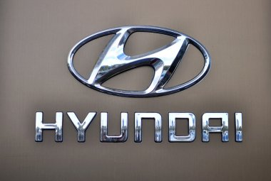 Logotype of Hyundai corporation on the grey background