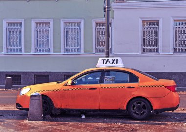 Taxi in the street of Moscow