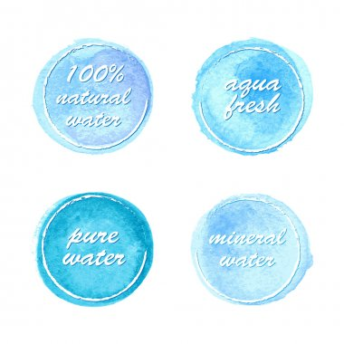 Water labels set in watercolor style