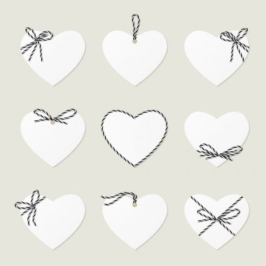 Hearts with ribbons ahd bows in twine style