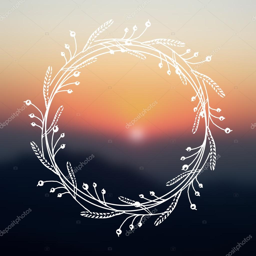 Floral wreath on blurred background