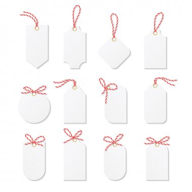 Tags and labels with bakers twine bows ribbons