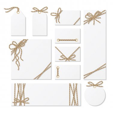Cards, tags and labels with rope bows ribbons
