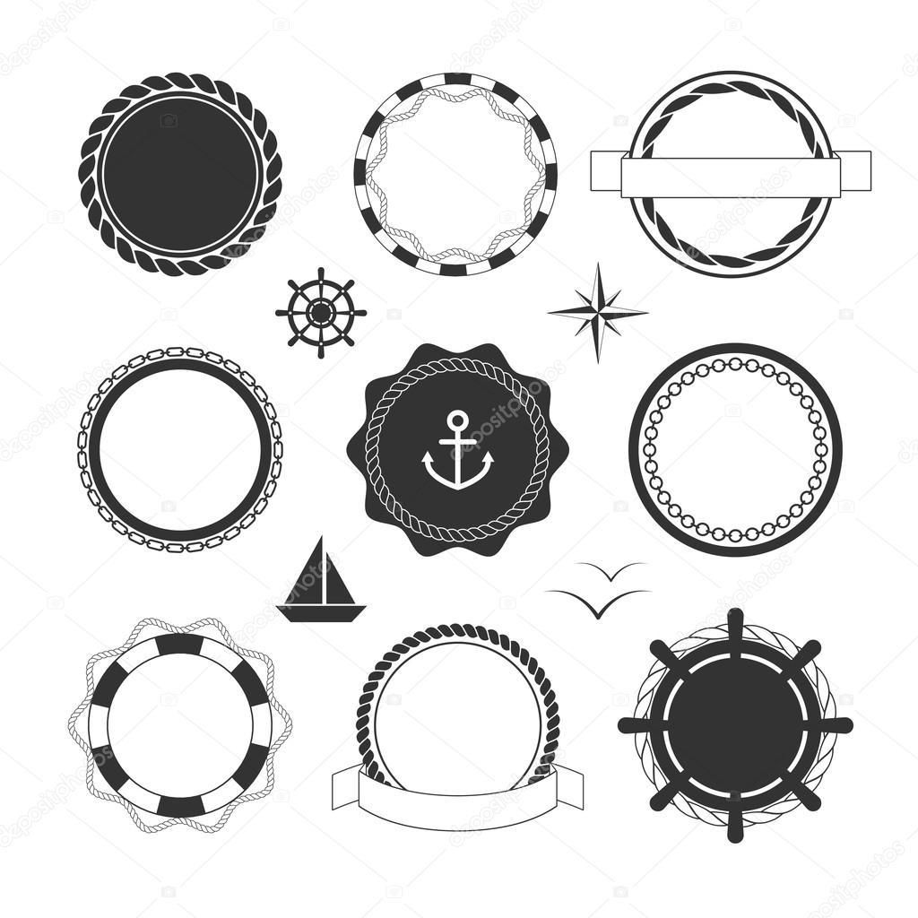 Plantillas iconos y escudos náuticas — Vector de stock © shlemina ...