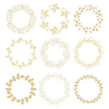 Hand drawn gold floral wreaths