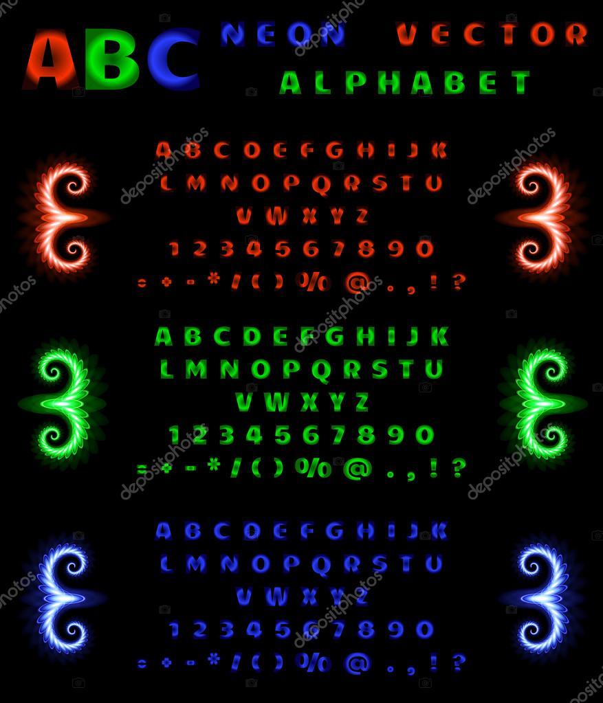 Insieme Di Alfabeto Al Neon E Numeri Su Uno Sfondo Nero Sfumatura