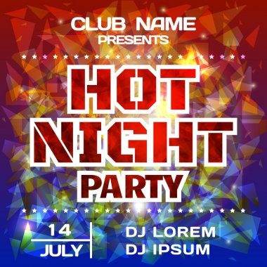Hot Night Party bright poster background template. DJ poster mockup. Festival banner design. Vector