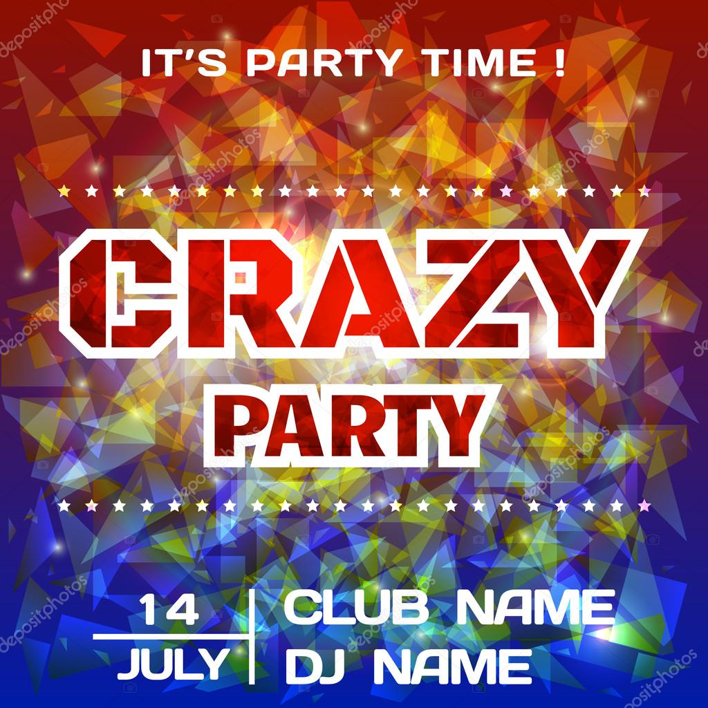 Crazy Party bright poster background template. DJ poster mockup ...