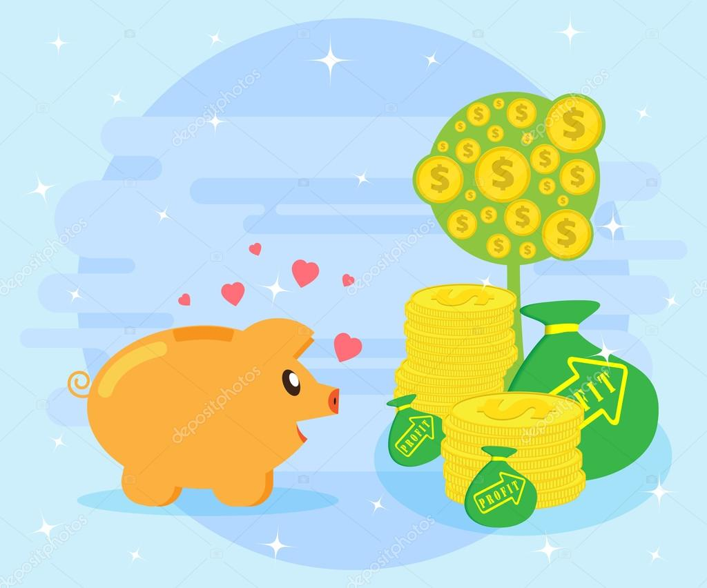 Happy Pig Piggy Bank Is Facing The Symbols Of Wealth The Love Of