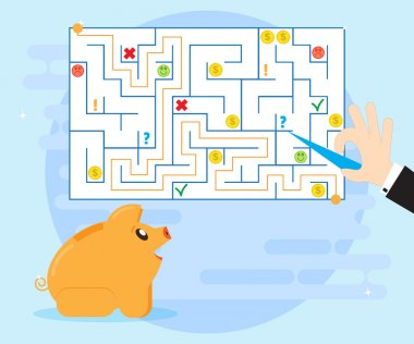 Action planning and good strategy to overcome difficulties and obstacles, to find a way out of a difficult situation. Happy pig piggybank learns financial planning. Improving financial Literacy