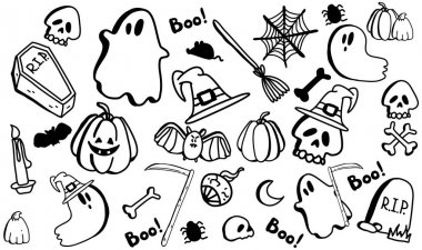 Vector set of halloween clipart. Funny, cute illustration for seasonal design, textile, decoration kids playroom or greeting card. Hand drawn prints and doodle. icon