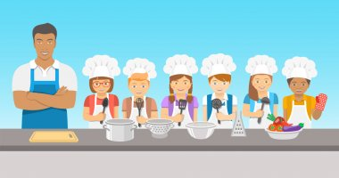 Kids cooking class flat illustration