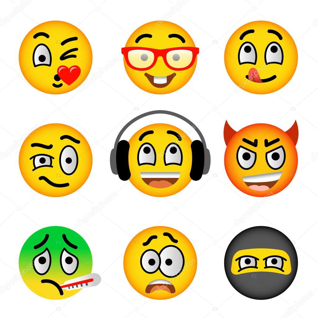 Smiley face emoji flat vector icons set — Stock Vector © vectorikart