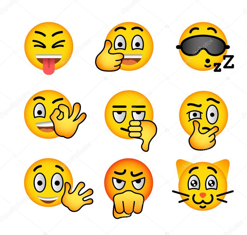 Smiley Face Emoji Flat Vector Icons Set Stock Vector Vectorikart