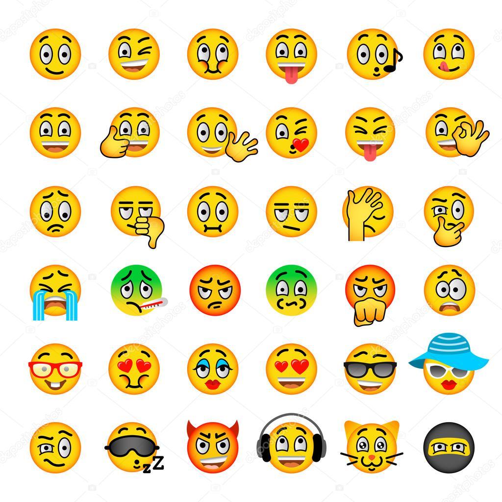 smiley gezicht emoji platte vector icons set stockvector. Black Bedroom Furniture Sets. Home Design Ideas