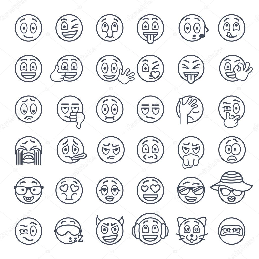 Line Drawing Happy Face : Sonriente cara emoji líneas finas plano vector iconos