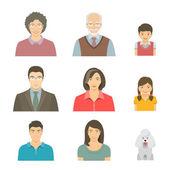 Ázsiai család néz lapos vektor avatarok készlet