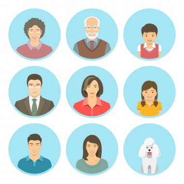 Asian family faces flat vector avatars set