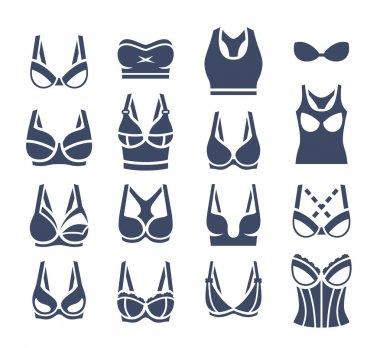 Bra design vector flat silhouettes icons set