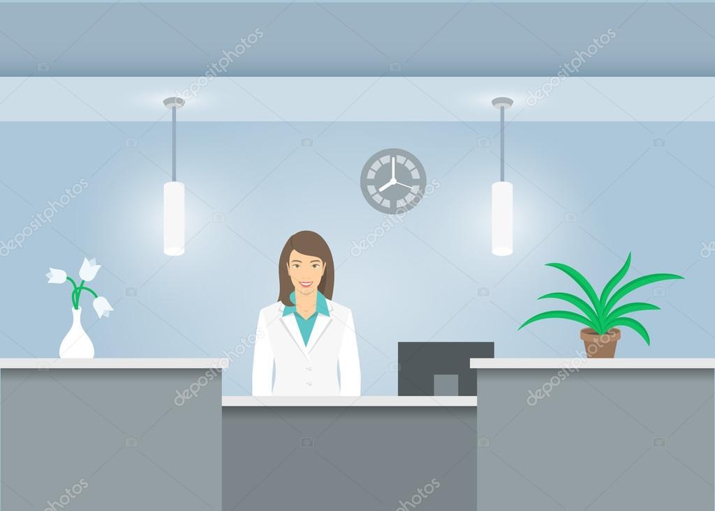 Recepcion mujer en hospital dibujoRecepcionista abrigo médicos CdxroeBW