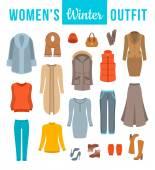 Fotografie Frauen winter Kleidung flache Vektor-Icons set