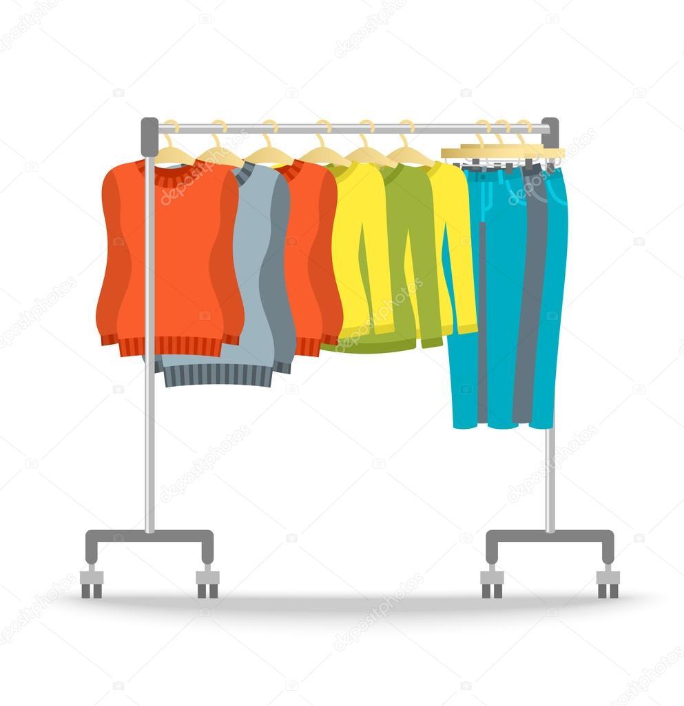 d701dfc0e0 Ράφι κρεμάστρα με ζεστό γυναίκες ρούχα χειμώνα συλλογή. Εικονογράφηση  διάνυσμα επίπεδη στυλ. Γυναικεία casual ντύσιμο στοιχεία κρέμεται από  τροχαίο σταντ.