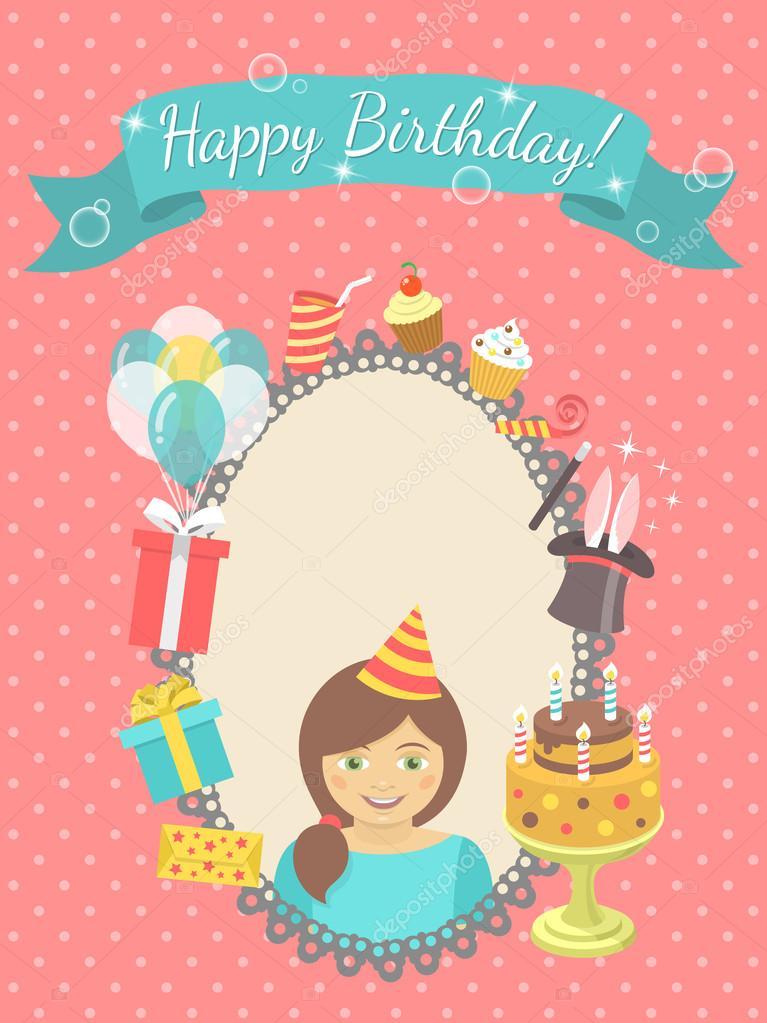 Happy Birthday Card For Girl Stock Vector Vectorikart 56424921