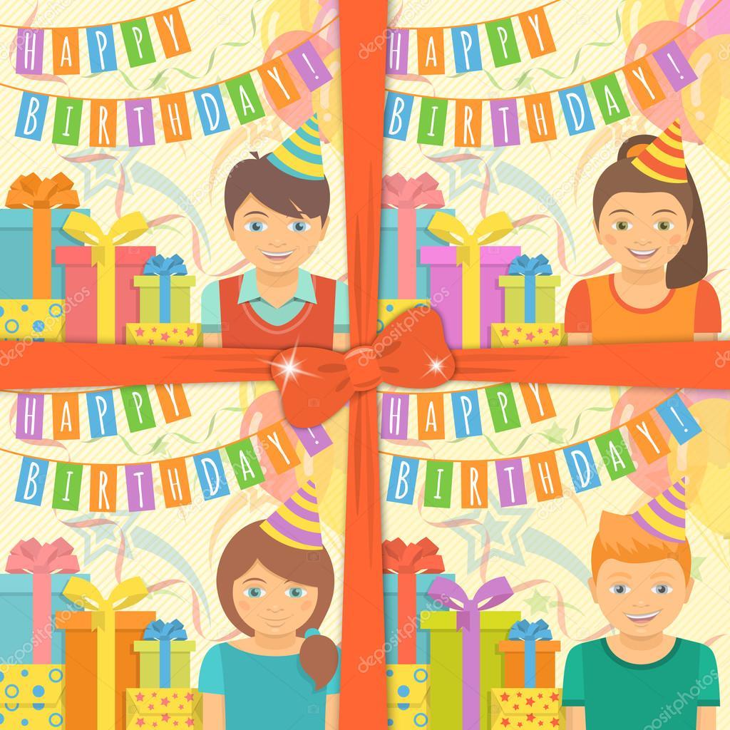 Biglietti Di Buon Compleanno Per Bambini Vettoriali Stock