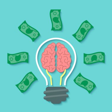 Money and Brain Idea Concept