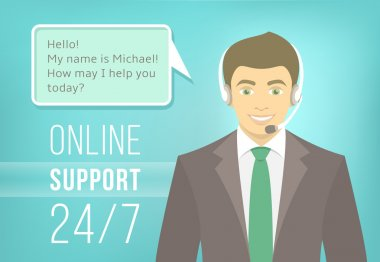 Call Centre Support Man with Headphones