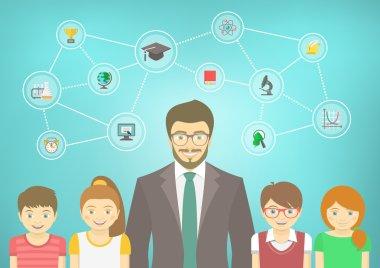 Modern Man Teacher and Kids