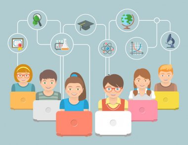 Online education Kids Flat Conceptual Illustration