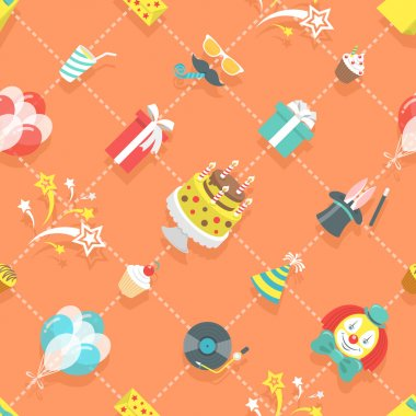 Flat Birthday Party Celebration Icons Seamless Pattern