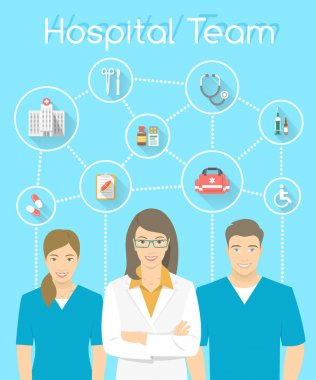Modern flat stylized vertical vector illustration of smiling group of multiracial medical clinic personnel, doctor and nurses with medical icons connected by dots. Hospital staff infographics element clip art vector